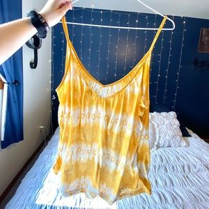 Tops - Yellow Patterned Spaghetti Strap Tank Top
